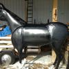 Life size metal horse - black with white feet